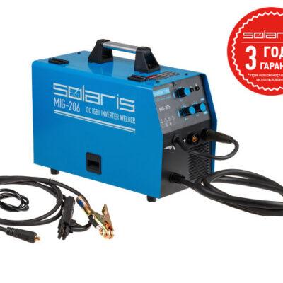 Полуавтомат сварочный Solaris MIG-206 (MIG/MMA) (220В, встроенная горелка 2 м, смена полярности) (MIG-206)
