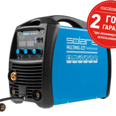 Полуавтомат сварочный Solaris MULTIMIG-227 (MIG/MMA/TIG) (220В, евроразъем, горелка 3 м, смена полярности, 2T/4T/Spot) (MULTIMIG-227)