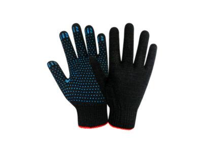 Перчатки х/б с ПВХ Точка, 10класс,черные, РБ