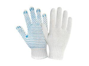 Перчатки х/б с ПВХ Точка, 7,5класс, белые, РБ