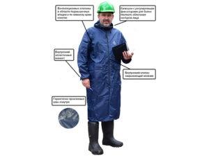 Плащ-дождевик ПВХ Тайфун  р.56-58 рост 170-176 синий