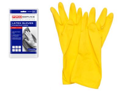 Перчатки латексные хозяйственные Standard, с хлопк. напылением, размер М, PROservice