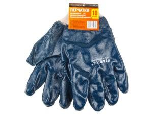 Перчатки х/б, нитриловое полное покрытие, манжет резинка, 10 р-р STARTUL