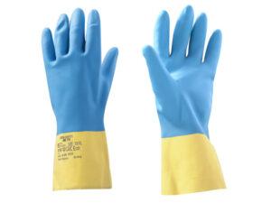 Перчатки неопреновые хозяйственно - промышленные, р-р 10/XL, К80, Щ40, желто-голубые, JetaSafety