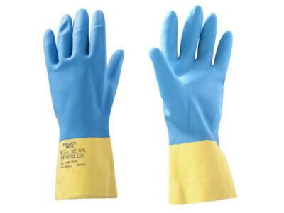 Перчатки неопреновые хозяйственно - промышленные, р-р 11/XXL, К80, Щ40, желто-голубые, JetaSafety