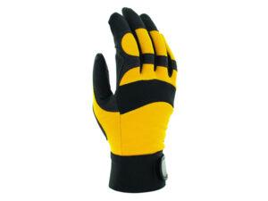 Перчатки виброзащитные из синтетической кожи, р-р 9/L, черно-желтые, JetaSafety