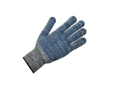 Перчатки х/б с ПВХ Точка, 10класс, серые,  синяя точка