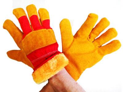 Перчатки спилковые комбинированные иск. мех. TR-725